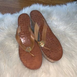 Tory Burch Shoes - Tory Burch brown leather cork platform heel size 8